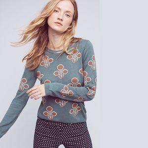 *anthro* field flower liatris floral sweater XS